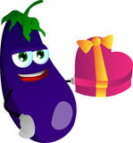 Eggplant with gift for Valentines Day Royalty Free Stock Photo