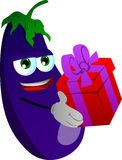 Eggplant giving you a gift box Stock Photo