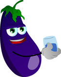 Eggplant with a glass of water Royalty Free Stock Images