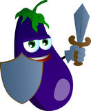 Eggplant guard with shield and sword Stock Image