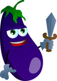 Eggplant guard with sword Royalty Free Stock Photography