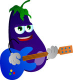 Eggplant guitar player Stock Images