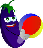 Eggplant holding a beach ball Royalty Free Stock Images