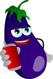 Eggplant holding beer or soda can Stock Image