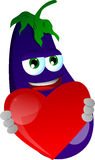 Eggplant holding a big red heart Royalty Free Stock Image