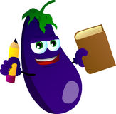 Eggplant holding a book and a pencil Stock Photo