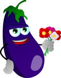 Eggplant holding a bunch of flowers Royalty Free Stock Image