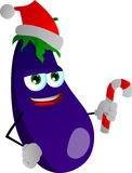 Eggplant holding a candy cane and wearing Santa's hat Stock Images