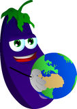 Eggplant holding Earth Royalty Free Stock Photo