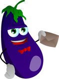 Eggplant holding an envelope Royalty Free Stock Photo