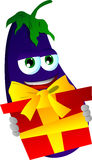 Eggplant holding gift box Royalty Free Stock Photography