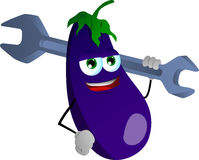 Eggplant holding a huge wrench Royalty Free Stock Photo