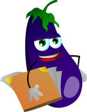 Eggplant holding a notebook Stock Image