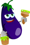 Eggplant holding a paint can and a paint brush Royalty Free Stock Image