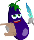 Eggplant holding paper scroll and feather Royalty Free Stock Images