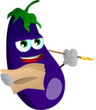 Eggplant holding pen and papers Stock Image