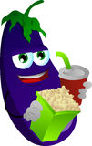 Eggplant holding popcorn and soft drink Stock Image