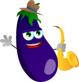 Eggplant holding saxophone Royalty Free Stock Photos