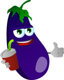 Eggplant holding soda and showing thumb up sign Royalty Free Stock Image