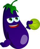 Eggplant holding a tennis ball Stock Image