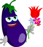 Eggplant holding tulip and other flowers Stock Image