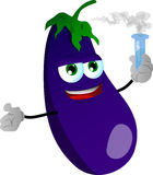 Eggplant holds beaker of chemicals Stock Photos