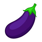 Eggplant isolated on white background. Bright cartoon icon. Vector illustration stock illustration