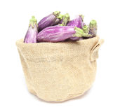 Eggplant in a jute bag. Pictured eggplants in a jute bag Royalty Free Stock Photos