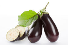Eggplant with leaves Royalty Free Stock Photos