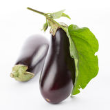 Eggplant with leaves Royalty Free Stock Image