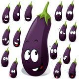 Eggplant with many expression stock illustration