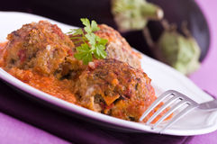 Eggplant meatballs. Close up of eggplant meatballs Royalty Free Stock Images