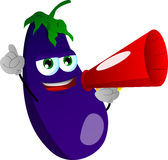Eggplant with megaphone Stock Photography