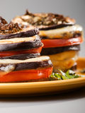 Eggplant with mozarella and tomatoes Royalty Free Stock Photos