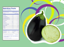 Eggplant nutrition facts. Creative Design for eggplant with Nutrition facts label Royalty Free Stock Image