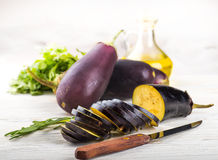 Eggplant and olive oil Royalty Free Stock Images