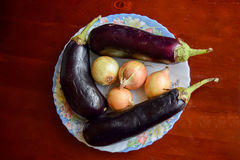 Eggplant and onions. Eggplant and onions on the table Stock Photos