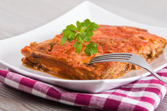 Eggplant Parmigiana. Stock Photos