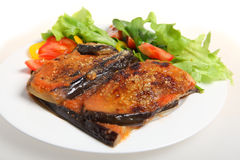Eggplant parmigiana meal. A meal of eggplant parmigiana (eggplant baked with tomato passata and parmisan) with a salad of lettuce, rocket, capsicum and tomato Royalty Free Stock Images