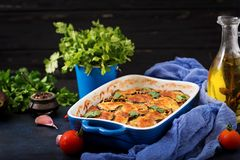 Eggplant Parmigiano - a traditional Italian dish Stock Images