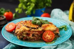 Eggplant Parmigiano  - a traditional Italian dish Stock Image