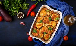 Eggplant Parmigiano - a traditional Italian dish Stock Photography