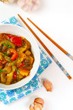 Eggplant paste with tomato and pepper Royalty Free Stock Photography