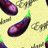 Eggplant pattern on grunge background. Royalty Free Stock Image