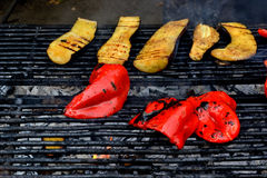 Eggplant and pepper grill Royalty Free Stock Image