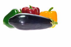 Eggplant and peppers. Royalty Free Stock Images