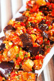 Eggplant, peppers and tomatoes appetizer Royalty Free Stock Images