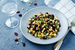 Eggplant pine nuts parsley dried cranberries salad Royalty Free Stock Image