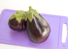Eggplant on a plastic cutting board. White background Royalty Free Stock Photo