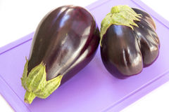 Eggplant on a plastic cutting board. White background Royalty Free Stock Photography